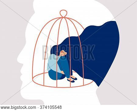 Transgender Woman Locked In A Cage In The Male Head. Concept Of Person Cross-gender Behavior. Restri
