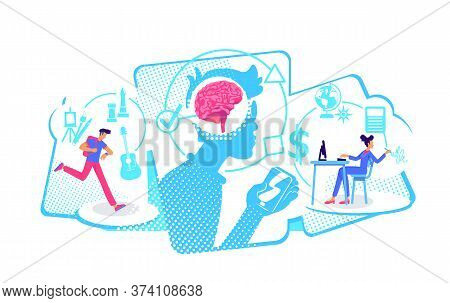 Multitaskers Flat Concept Vector Illustration. Man And Woman Complete Many Assignment. 2d Cartoon Ch