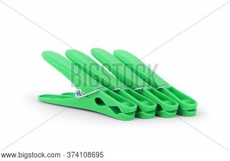 Decorative Clothespins Isolated On White Vintage, Natural, Object, Clothespins, Concept, Closeup,