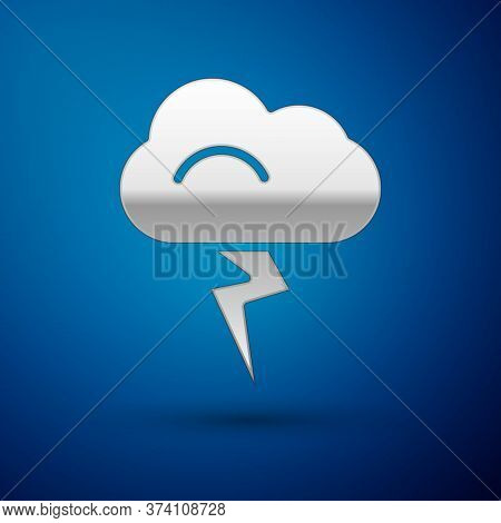 Silver Storm Icon Isolated On Blue Background. Cloud And Lightning Sign. Weather Icon Of Storm. Vect