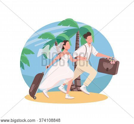 Just Married Couple Honeymoon 2d Vector Web Banner, Poster. Wife And Husband With Suitcases Flat Cha