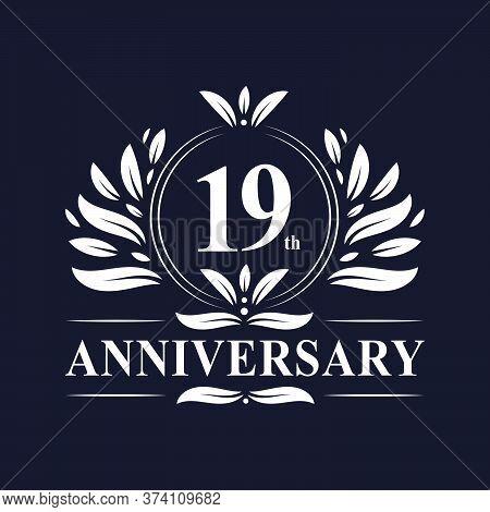19 Years Anniversary Logo, Luxurious 19th Anniversary Design Celebration.