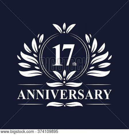 17 Years Anniversary Logo, Luxurious 17th Anniversary Design Celebration.