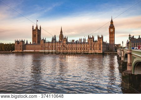 London cityscape with Palace of Westminster, Elizabeth Tower Big Ben and the Westminster Bridge over the River Thames in a morning light