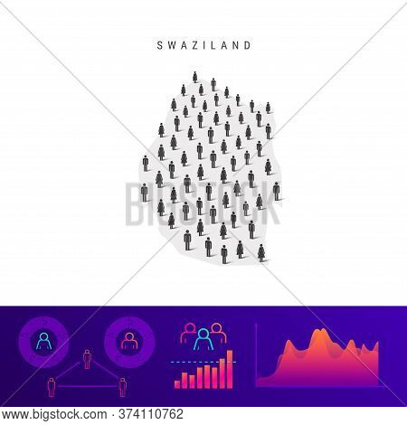 Swaziland Or Eswatini People Map. Detailed Vector Silhouette. Mixed Crowd Of Men And Women Icons. Po