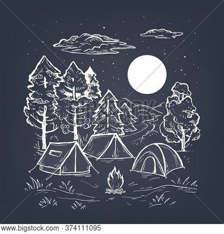 Sketch Vector Of A Coniferous Forest, Tents, Bonfire And Moon. Engraving Style. Touristic Camp With