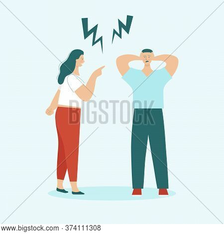 Adult Man And Woman Quarrel. Concept Of Family Conflicts, Resentment, Aggression, Divorce. Husband A