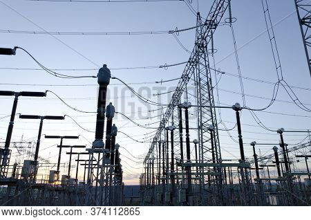 Electric Power Transmission Lines, High Voltage Power Transformer Substation, High Voltage Switchgea