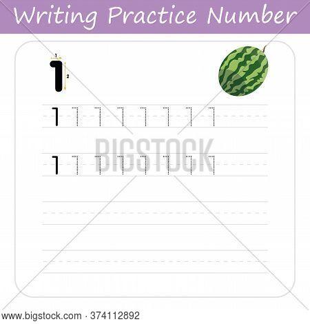 The Practice Of Writing A Worksheet Number One. Printable Worksheet For Preschool.