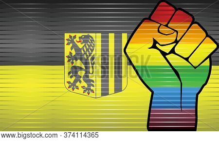 Shiny Lgbt Protest Fist On A Dresden Flag - Illustration,  Abstract Grunge Dresden Flag And Lgbt Fla