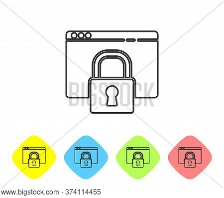 Grey Line Secure Your Site With Https, Ssl Icon Isolated On White Background. Internet Communication