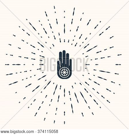 Grey Symbol Of Jainism Or Jain Dharma Icon Isolated On Beige Background. Religious Sign. Symbol Of A
