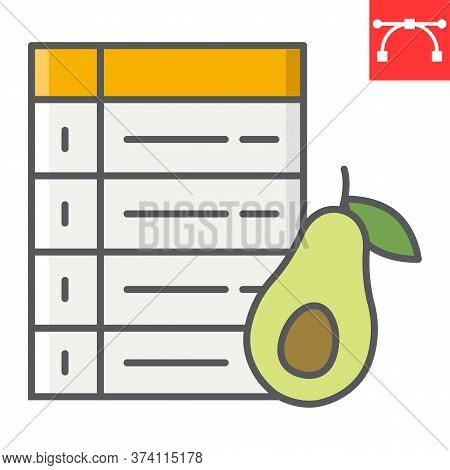 Diet Plan Color Line Icon, Avocado And Keto Diet, Week Plan Sign Vector Graphics, Editable Stroke Co