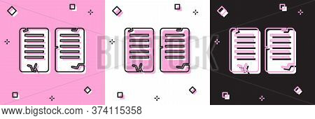 Set The Commandments Icon Isolated On Pink And White, Black Background. Gods Law Concept. Vector Ill
