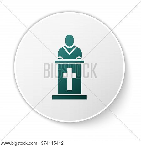 Green Church Pastor Preaching Icon Isolated On White Background. White Circle Button. Vector Illustr