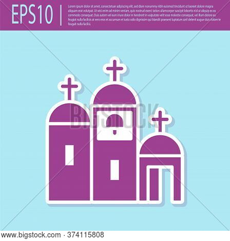 Retro Purple Church Building Icon Isolated On Turquoise Background. Christian Church. Religion Of Ch