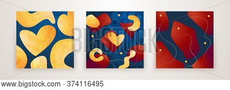 Set Of Creative Minimalist Hand Drawn Abstract Background. Modern Abstract Shapes In Contemporary St