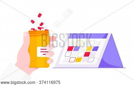 Medicine Schedule Or Medical Reminder Planner Flat Style Design Vector Illustration With Date Calend