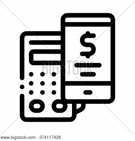 Pos Terminal Smartphone Payment App Icon Vector. Pos Terminal Smartphone Payment App Sign. Isolated