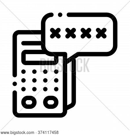 Pos Terminal Pin Code Icon Vector. Pos Terminal Pin Code Sign. Isolated Contour Symbol Illustration