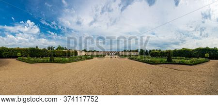 Versailles, France - August 27, 2019 : The Grand Trianon, Little Pink Marble And Porphyry Palace Wit