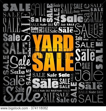 Yard Sale Word Cloud Collage, Business Concept Background