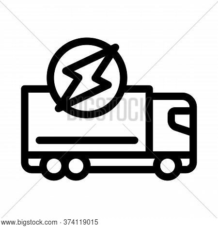 Electro Truck Cargo Icon Vector. Electro Truck Cargo Sign. Isolated Contour Symbol Illustration