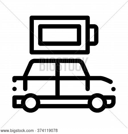 Electro Car Full Battery Icon Vector. Electro Car Full Battery Sign. Isolated Contour Symbol Illustr