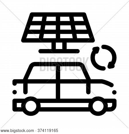 Electro Car Solar Panel Icon Vector. Electro Car Solar Panel Sign. Isolated Contour Symbol Illustrat