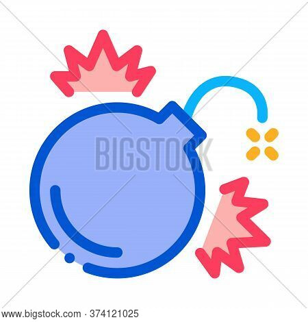 Firework Bomb Icon Vector. Firework Bomb Sign. Color Symbol Illustration
