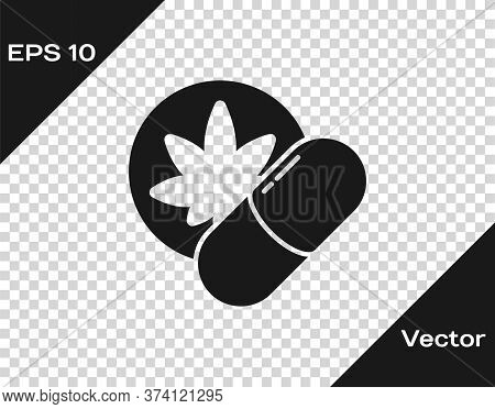 Black Herbal Ecstasy Tablets Icon Isolated On Transparent Background. Vector Illustration