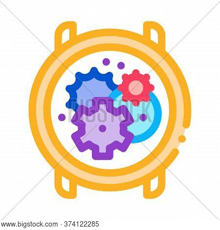 Watch Mechanism Gears Icon Vector. Watch Mechanism Gears Sign. Color Symbol Illustration