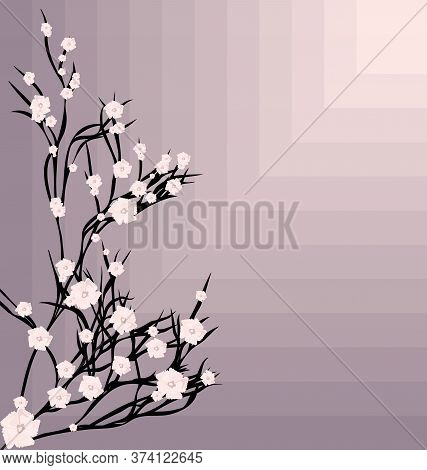 Abstract Spring Background Tree And Pink Flowers