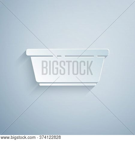 Paper Cut Plastic Basin Icon Isolated On Grey Background. Bowl With Water. Washing Clothes, Cleaning