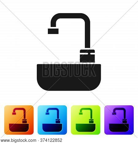 Black Washbasin With Water Tap Icon Isolated On White Background. Set Icons In Color Square Buttons.