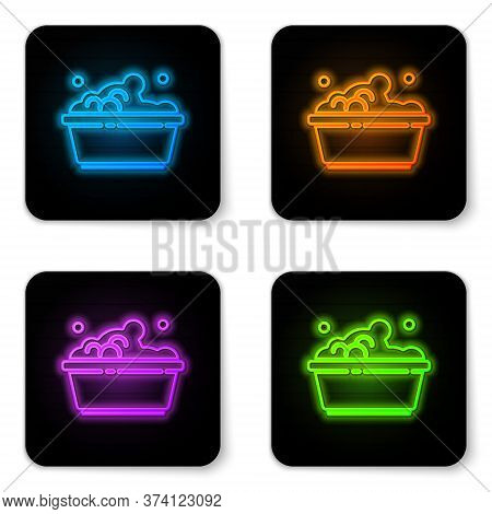 Glowing Neon Plastic Basin With Soap Suds Icon Isolated On White Background. Bowl With Water. Washin
