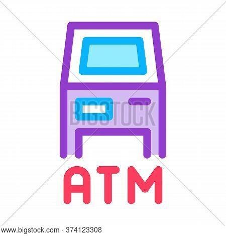 Atm Terminal Icon Vector. Atm Terminal Sign. Color Symbol Illustration