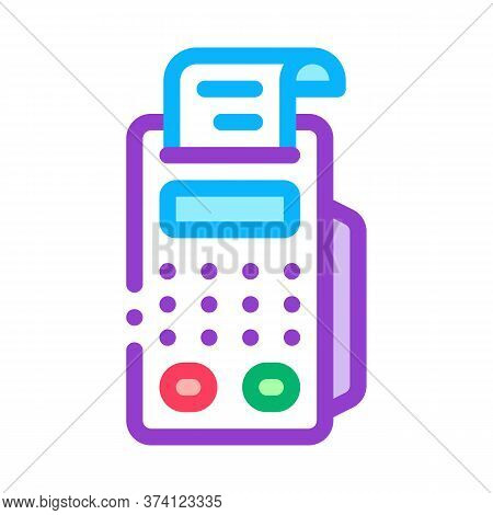Pos Terminal Print Receipt Icon Vector. Pos Terminal Print Receipt Sign. Color Symbol Illustration