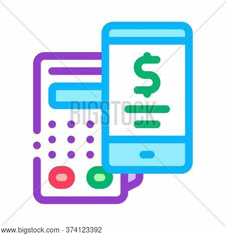 Pos Terminal Smartphone Payment App Icon Vector. Pos Terminal Smartphone Payment App Sign. Color Sym