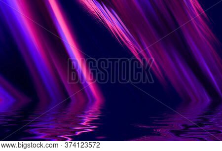Light Neon Effect, Energy Waves On A Dark Abstract Background. Laser Colorful Neon Show. Reflection