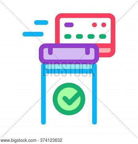 Pos Terminal Approved Card Icon Vector. Pos Terminal Approved Card Sign. Color Symbol Illustration