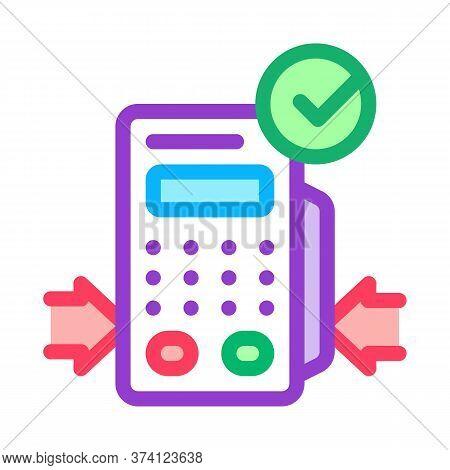 Pos Terminal Device Icon Vector. Pos Terminal Device Sign. Color Symbol Illustration