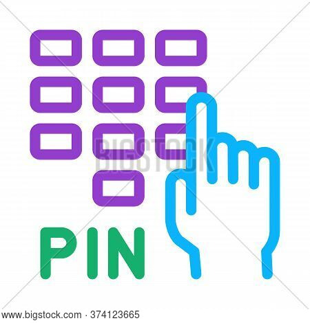 Entre Pin Code Icon Vector. Entre Pin Code Sign. Color Symbol Illustration