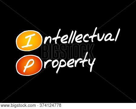Ip - Intellectual Property Acronym, Business Concept Background