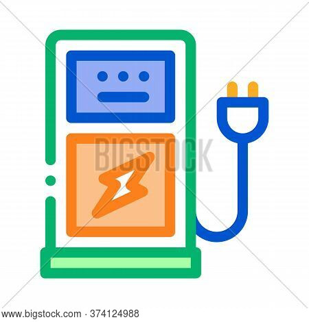 Electro Car Charge Station Icon Vector. Electro Car Charge Station Sign. Color Symbol Illustration
