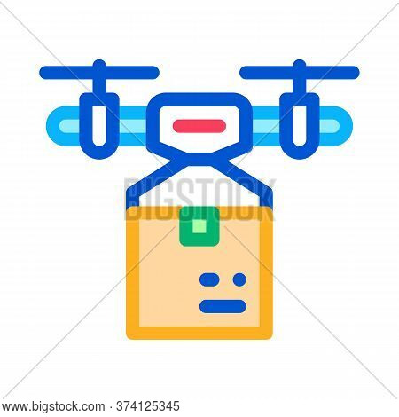 Drone Box Delivering Icon Vector. Drone Box Delivering Sign. Color Symbol Illustration