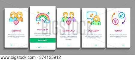 Lgbt Homosexual Gay Onboarding Mobile App Page Screen Vector. Lgbt Community And Flag, Unicorn And R