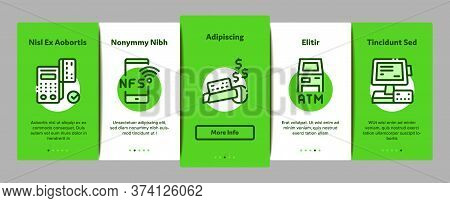 Pos Terminal Device Onboarding Mobile App Page Screen Vector. Bank Terminal And Atm, Smartphone Nfc