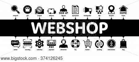 Webshop Internet Store Minimal Infographic Web Banner Vector. Webshop Online Shop Coupon And Buy, Ch