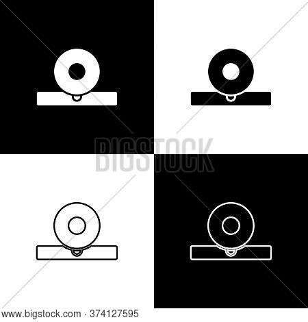 Set Otolaryngological Head Reflector Icon Isolated On Black And White Background. Equipment For Insp